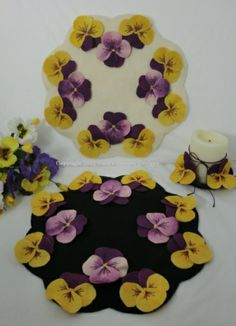"""""""Pansy Garden"""" Wool Penny Rug Candle Mat & Pansy Pins Pattern-pansy, wool, candle mat, pattern, pansy pins, pansies, spring, penny rug, flowers"""