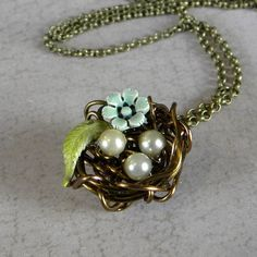 BIRD  NEST Necklace  Hand wrapped Rustic  Mini  Nest by Msemrick, $32.00