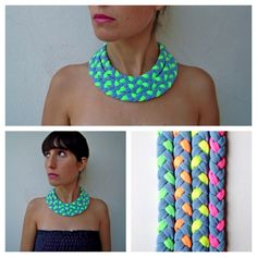 Beautiful grey & neon triple braided collar, soft, light, colorful, daring and with a tribal feel. Meet Market, Soft Light, Spectrum, My Heart, Crochet Necklace, Neon, Colorful, Grey, Beautiful