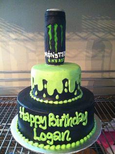 Pin Monster Energy Drink Birthday Party Cake On Pinterest