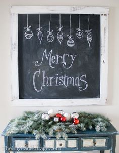 Christmas Tour 2013 - Classic Red and White - The Lilypad Cottage Christmas chalkboard Merry Christmas Merry Little Christmas, Noel Christmas, All Things Christmas, Christmas Crafts, Winter Christmas, Christmas Kitchen, Christmas Photos, Christmas Bulbs, Christmas Chalkboard Art