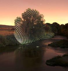 Depuis presque une dizaine d'année le photographe espagnol Javier Riera projette sur des paysages des images de formes géométriques qui viennent se superposer le plus souvent sur des arbres qui semblent ainsi avoir de nouveaux volumes.