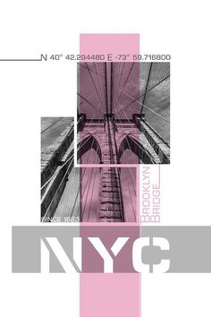 Poster Art NYC Brooklyn Bridge Details Pink by Melanie Viola is printed with premium inks for brilliant color and then handstretched over museum quality stretcher bars. Money Back Guarantee AND Free Return Shipping. Graphisches Design, Book Design, Cover Design, Layout Design, Graphic Design Trends, Graphic Design Posters, Graphic Design Inspiration, Layout Inspiration, Event Poster Design