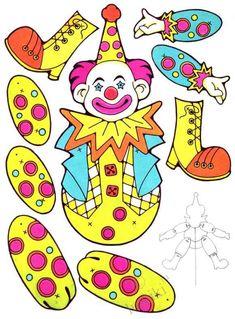 Бумажные подвижные куклы - клоуны, зайчики, собачки и другое