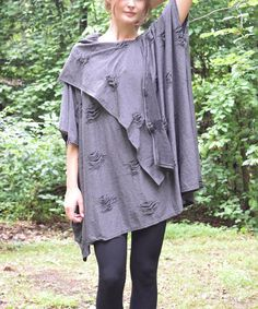 Another great find on #zulily! Gray Distressed Cape-Sleeve Top - Women #zulilyfinds