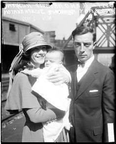 Buster Keaton with wife Natalie Talmadge and son.