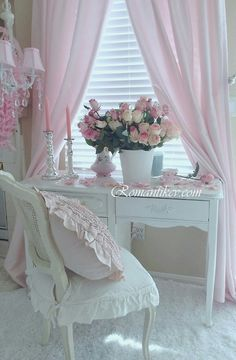 Vintage Shabby Pink...love the chair and desk