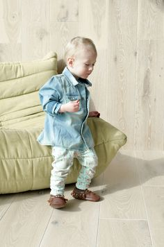 Totes and the City's toddler style in mint arrow leggings cognac leather moccasins and a denim jacket. I love dressing this baby boy!