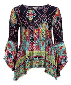 Another great find on #zulily! Navy & Turquoise Arabesque Scoop Neck Top - Plus #zulilyfinds