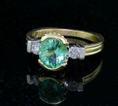 Round viennois Turquoise 14k or jaune Ring Band