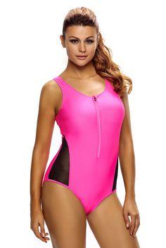 c81655ac2a4e Dropship Swimwear · Mesh Splicing Rosy Tank Zipped Monokini with Lace up  Back Womens Fashion Online, Fashion Women