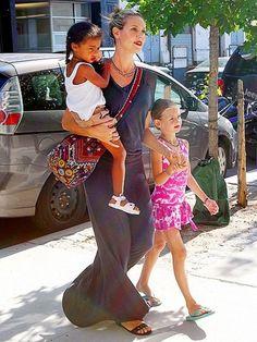 Heidi Klum and daughters with matching lipstick