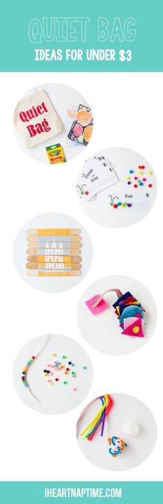 DIY quiet bags -great to take to church, appointments or to pull out for kids who no longer nap!