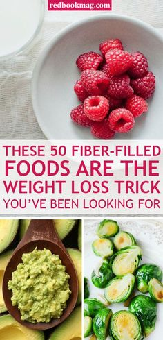 FIBER-FILLED FOODS YOU NEED TO LOSE WEIGHT: Fiber rich foods like whole grain pasta avocados and raspberries help you control food cravings burn fat fast and improve your overall body health. These yummy and healthy foods easy snack ideas and antiox Weight Loss Meals, Best Weight Loss Foods, Diet Plans To Lose Weight, Healthy Weight Loss, How To Lose Weight Fast, Losing Weight, Lose Fat, Weight Loss Tricks, Loose Weight
