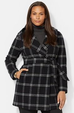 Lauren Ralph Lauren Windowpane Plaid Hooded Wrap Coat (Plus Size) Nordstrom Coats, 2014 Trends, Wrap Coat, Plus Size Pants, Outerwear Women, Wool Blend, Plus Size Fashion, Fashion Dresses, Ralph Lauren