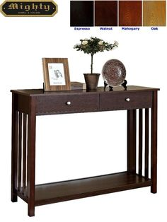 Mission Style Espresso Console Sofa Table With Drawer Overstock