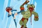 Essa garota está enfrentando orcs ferozes. Ataque os com toda sua força e volte para casa!