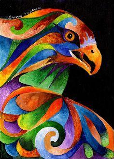 Rainbow Raptor Painting by Sherry Shipley - Rainbow Raptor Fine Art Prints and…