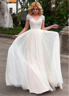 Buy discount Elegant Tulle & Satin V-neck Neckline A-line Wedding Dress With Beaded Embroidery at Ailsabridal.com
