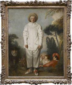 Jean-Antoine WATTEAU Valenciennes, 1684 - Nogent-sur-Marne, 1721 Pierrot, dit autrefois Gilles Vers 1718 - 1719 H. : 1,85 m. ; L. : 1,50 m. Figure dont la monumentalité est exceptionnelle dans l'oeuvre de Watteau, ce Pierrot songeur et poétique était peut-être l'enseigne du café de l'ancien acteur Belloni. En bas, des personnages issus de la farce contribuent au caractère énigmatique du tableau. ...