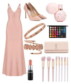 """gala outfit"" by nataliaaa016 on Polyvore featuring Hervé Léger, Jimmy Choo, Luv Aj and Yves Saint Laurent"