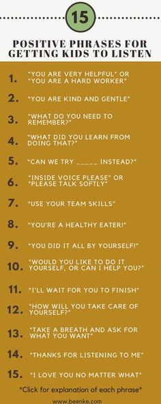 Getting kids to listen without yelling takes patience and skill. How can you develop this parenting skill? Check out 15 positive phrases you can try now. If you are an educator you can also try this at school, in the classroom. Parenting Classes, Kids And Parenting, Parenting Hacks, Parenting Plan, Positive Parenting Solutions, Foster Parenting, Parenting Styles, Parenting Articles, Parenting Humor