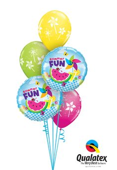 The Balloons In This Colorful Bouquet Feature Lots Of Fun Summer Icons From Picnics