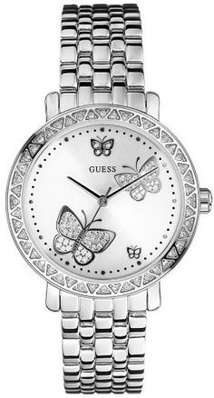 Guess Women's G86013L Silver Stainless-Steel Quartz Watch with White Dial. I want it!