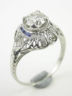 Art Deco Antique Engagment Ring, RG-3058, Topazery | Like delicate butterfly wings, this Art Deco antique filigree engagement ring flutters around the finger. www.topazery.com