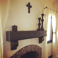 Fireplace Mantel Rustic Distressed Wood, floating shelf Custom Made to Order, U pick or Custom Size Rustic Fireplace Mantels, Fireplace Shelves, Home Fireplace, Wood Floating Shelves, Wood Shelves, Spanish Style, Spanish Colonial, Wood Beams, Ceiling Beams