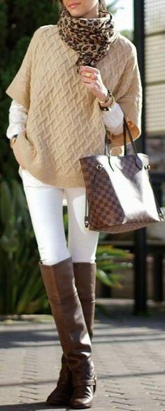 #fall #fashion / knit + white