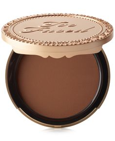 How deep can your glow go? Too Faced Dark Chocolate Soleil  Bronzer is the richest cocoa-infused color yet. Use a small amount to create a dramatic contour look.