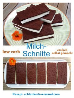 Milchschnitte low carb einfach selber machen - herrlich cremige Füllung zwischen schokoladigem Bisquit...  #lowcarb #abnehmen #LCHF #Food #Rezepte #backen