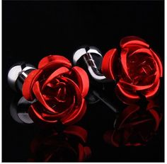 2 Pairs Rose Flower Cufflinks Men/'s Shirt Business Formal Wedding Party Gift