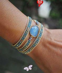 Blue mix wrap bracelet with chain Boho bracelet by G2Fdesign Blue mix wrap bracelet with chain Boho bracelet by G2Fdesign<br> Bracelet Wrap, Beaded Wrap Bracelets, Bohemian Bracelets, Hippie Jewelry, Bracelet Making, Fashion Bracelets, Diy Jewelry, Beaded Jewelry, Handmade Jewelry