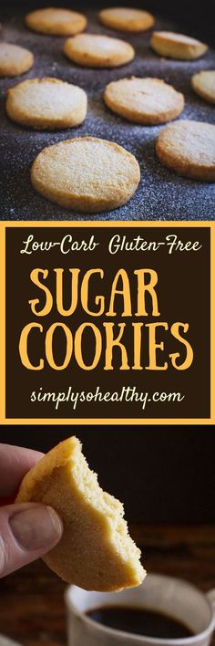 Our Low-Carb Sugar Cookies boast a delicate buttery texture that everyone will love! This recipe can be part of a low-carb gluten-free grain-free keto Atkins diabetic or Banting diet. Low Carb Sugar Cookie Recipe, Gluten Free Sugar Cookies, Healthy Cookie Recipes, Sugar Free Desserts, Healthy Cookies, Low Carb Recipes, Keto Cookies, Free Recipes, Diabetic Cookies
