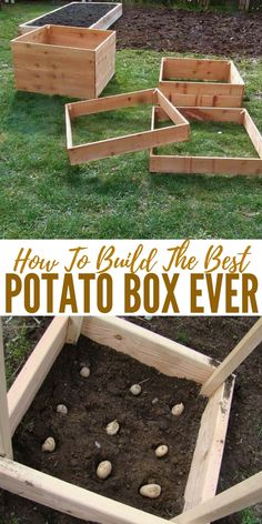 garden boxes How To Build The Best Potato Box Ever - The box is designed so additional slats can be screwed to the sides as the plants grow and soil is added. In theory, a bottom slat can be temporarily removed to facilitate the harvest of new potatoes. Veg Garden, Vegetable Garden Design, Garden Boxes, Garden Planters, Garden Soil, Garden Ideas, Potager Garden, Concrete Garden, Hydroponic Gardening