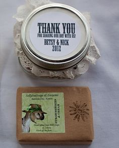 A bar of handmade goat's milk soap from a nearby farm and trail mix in a Mason jar welcomed guests to this Kansas wedding