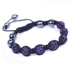 Dark Purple Rhinestone Crystal Clay Disco Ball Beaded Charm Bracelet Bangle