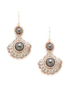 Miguel Ases Hematite &Rose Fan Drop Earrings