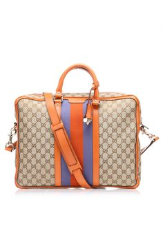 Gucci GG Vintage Web Messenger Bag In Orange & Beige.