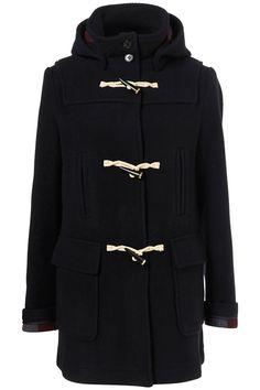 Navy bound seam duffle coat
