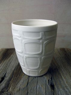 Julia Gronski, ceramic tumbler - awesome example of shellac resist technique.
