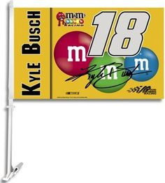 Back your favorite driver proudly with this car flag from BSI Products. Each 11 car flag is made of heavy-duty 150 denier polyester and lined for clear visibility from both sides. The offic Nascar Party, Car Flags, Kyle Busch, Wall Mount, Outdoors, Graphics, Kit, Car Windows, Sports