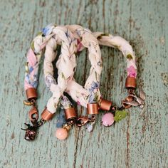 DIY: sweet hanky bracelets. These are cute! COuld do with fabric scraps too.