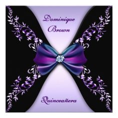 Elegant Purple Black Diamond Bow Quinceanera invitation