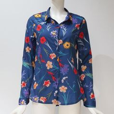 Floral Print Long Sleeve Turn Down Collar Blouse Ladies Shirts Striped Tunic Plus Size Shirt Patterns For Women, Blouses For Women, Ladies Blouses, Ladies Shirts, Shirt Packaging, Blouse Models, Collar Blouse, Work Blouse, Floral Blouse