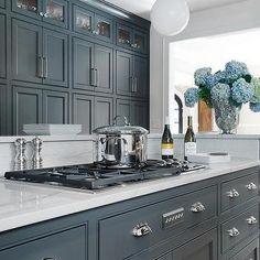 Gray Cabinets with Luce di Luna Quartzite