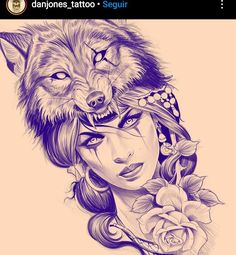 Sketch Tattoo Design, Wolf Tattoo Design, Wolf Design, Wolf Girl Tattoos, Wolf Tattoos For Women, Feminine Arm Tattoos, Tattoo Studio, Chicano Style Tattoo, Chicano Art
