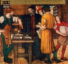 William Tyndale (1494-1536) masters six languages by his 20s put himself into exile to translate the Bible into English. Henry VIII is very against having the Bible translated into English so Tyndale has to translate on the run but is eventually caught and burned at the stake.